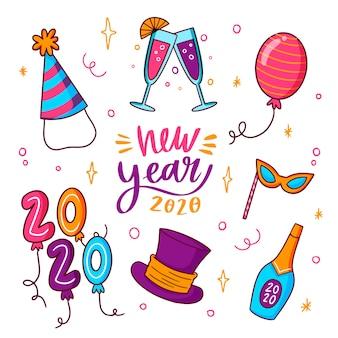 Decoración y champagne fiesta de año nuevo 2020