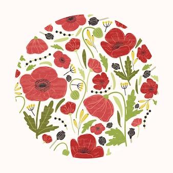 La decoración consistía en hermosas flores rojas en flor o amapolas, hojas y cabezas de semillas