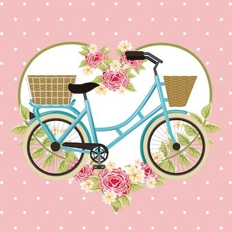 Decoración de corazón de flores de cesta de bicicleta vintage