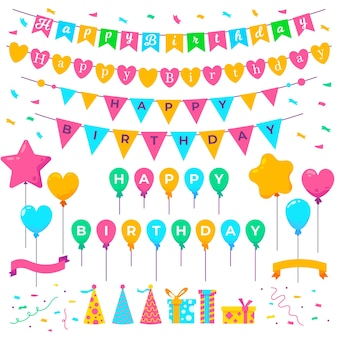 Decoración de cumpleaños con adornos coloridos