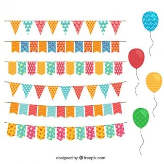 Decoración de cumpleaños con banderines y globos