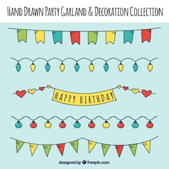 Decoración de cumpleaños dibujada a mano