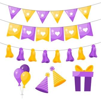Decoración de cumpleaños con elementos amarillos y violetas.