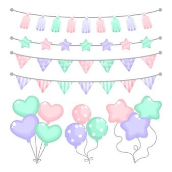 Decoración de cumpleaños con globos en forma de corazón