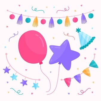 Decoración de cumpleaños con globos y guirnaldas