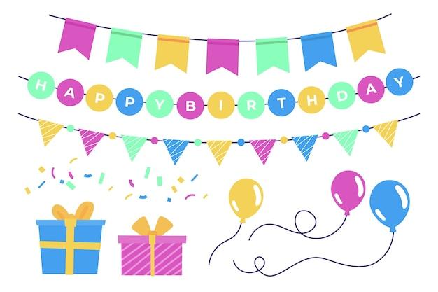Decoración de cumpleaños con globos y regalos.