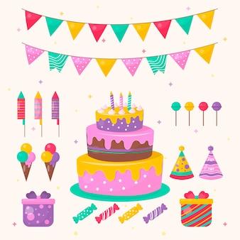Decoración de cumpleaños con tarta y dulces