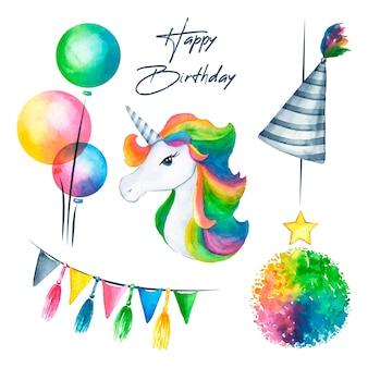 Decoración de cumpleaños con unicornio colorido