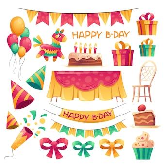 Decoración de dibujos animados de vector para fiesta de cumpleaños