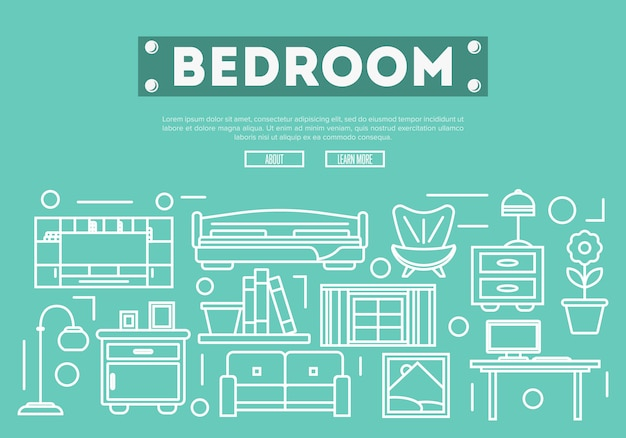 Decoración de dormitorio en estilo lineal.