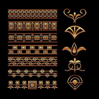Decoración elegante de la vignette y de la decoración de la frontera del art déco