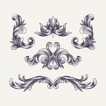 Decoración y elementos barrocos grabados dibujados a mano