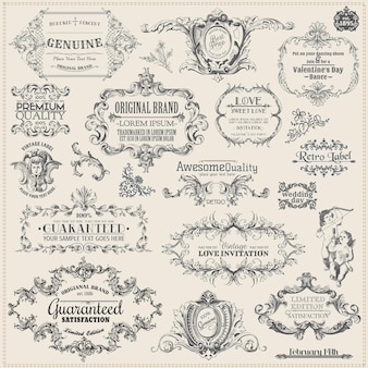 Decoración de elementos de diseño caligráfico