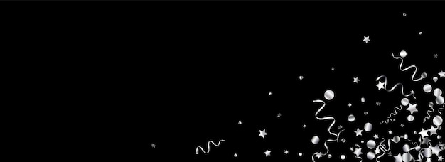 Decoración estrella de plata aislada en negro