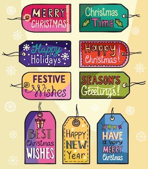 Decoración de etiquetas de felicitación navideña para tus regalos.