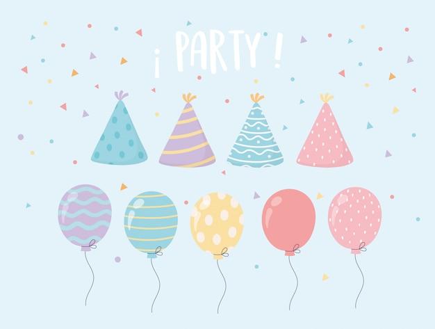 Decoración de fiesta de celebración de confeti de sombrero y globos