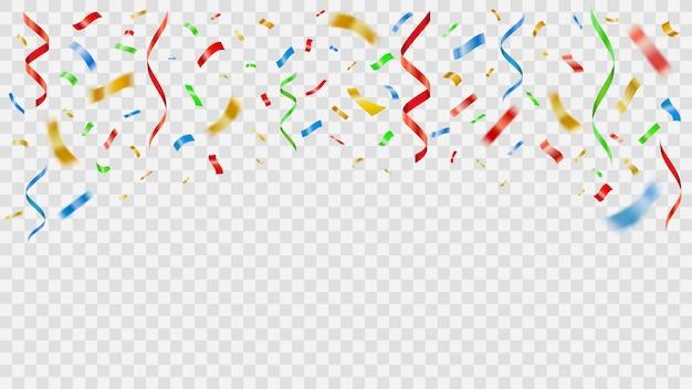 Decoración de fiesta color confeti. papel de fiesta realista volando salpicaduras de cinta, volando y cayendo papel serpentina aniversario celebración ilustración. decoración de cumpleaños, carnaval y fiesta