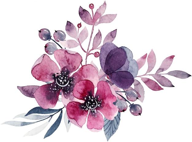 Decoración floral acuarela