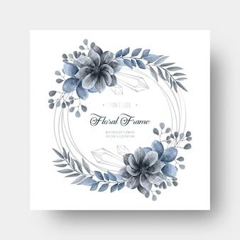 Decoración floral de flor azul acuarela con marco de plata