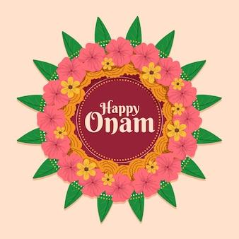 Decoración floral plana onam