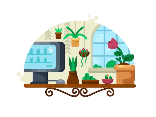 Decoración floral con plantas verdes y flores en maceta. ilustración vectorial