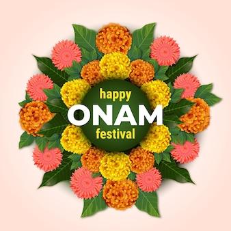 Decoración floral realista de onam