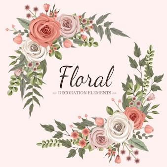 Decoración floral rosa y beige
