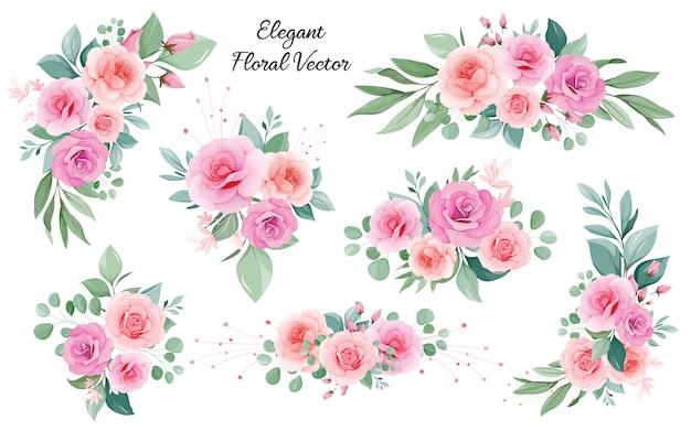 Decoración floral de rosas, hojas, ramas de durazno y rubor