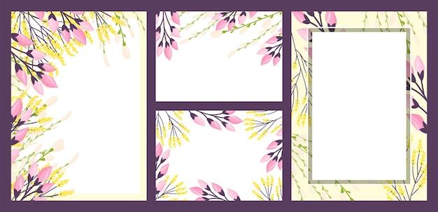 Decoración floral en tarjetas vintage ilustración de vector de arte de verano fondo decorativo con marco naturaleza ...