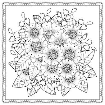 Decoración de flores mehndi. adorno decorativo en estilo étnico oriental. página para colorear.