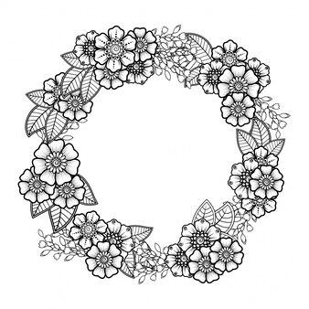 Decoración de flores mehndi en estilo étnico oriental e indio. ornamento del doodle esquema dibujar a mano ilustración.