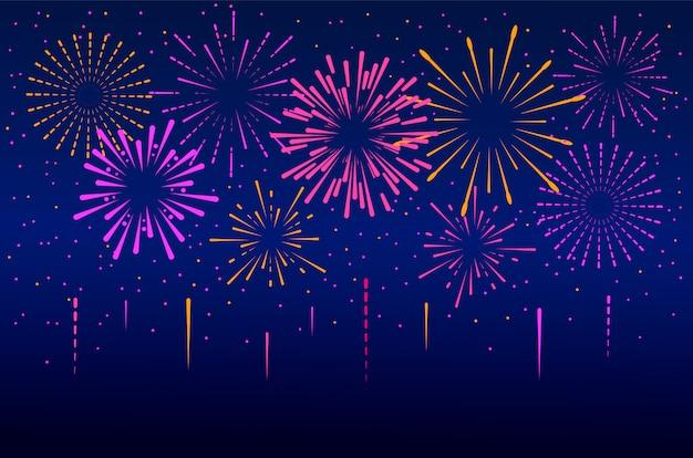 Decoración de fuegos artificiales de año nuevo