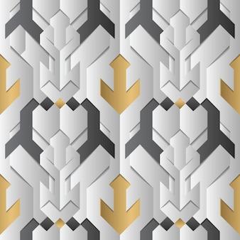 Decoracion geometria abstracta con rayas blancas y elementos dorados.