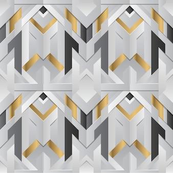 Decoración geométrica a rayas con elemento blanco y dorado.