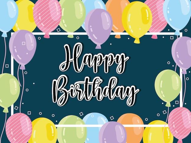 Decoración de globos de banner de feliz cumpleaños