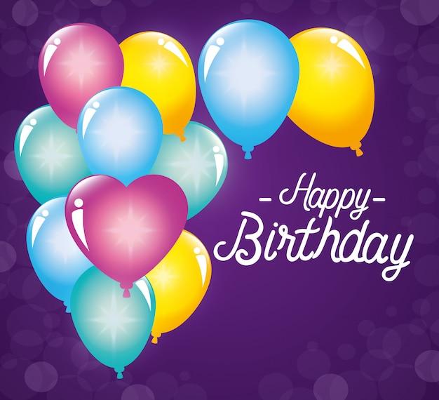 Decoración de globos para celebración de feliz cumpleaños