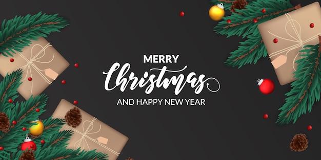Decoración de guirnalda de hojas de abeto con cono de pino, esfera de adorno, caja de regalo para plantilla de banner de póster de navidad