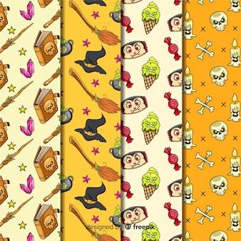 Decoración de halloween de colección de patrones sin fisuras