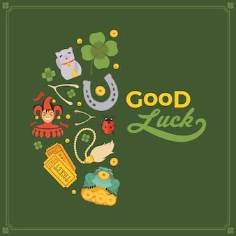 Decoración hecha de lucky charms, y las palabras good luck