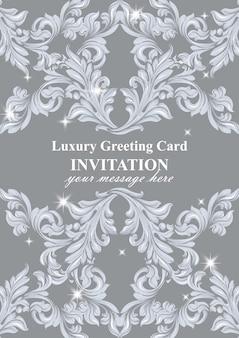 Decoración hecha a mano del ornamento de la invitación del damasco. brillantes texturas de fondo barroco