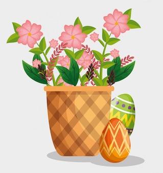 Decoración de huevos de pascua con flores dentro de la canasta