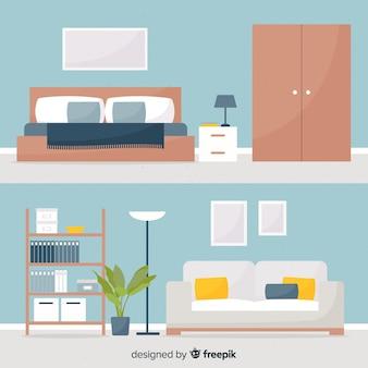 Decoración interior de casa moderna con diseño plano