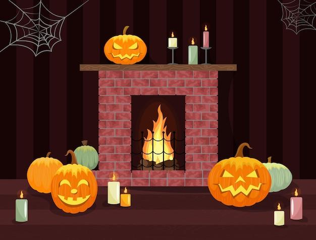 Decoración de interiores de halloween chimenea con llama y lámparas de calabaza brillantes fondo oscuro
