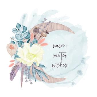 Decoración de invierno luna y flores