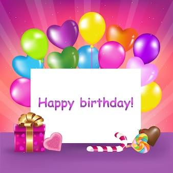 Decoración lista para cumpleaños con globos, dulces y regalos, ilustración