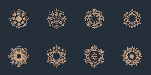 Decoración de mandala única un conjunto en estilo étnico