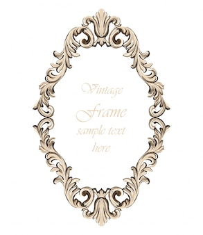 Decoración de marco barroco de la vendimia. ilustración de vector de ornamento detallada
