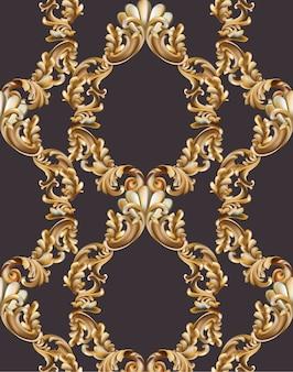 Decoración de marco barroco de la vendimia. ilustración de vector de ornamento realista 3d detallada