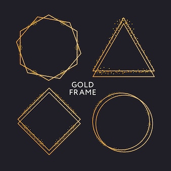 Decoración de marco dorado aislado patrón de borde degradado metálico dorado brillante