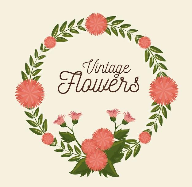 Decoración de marco de flores vintage